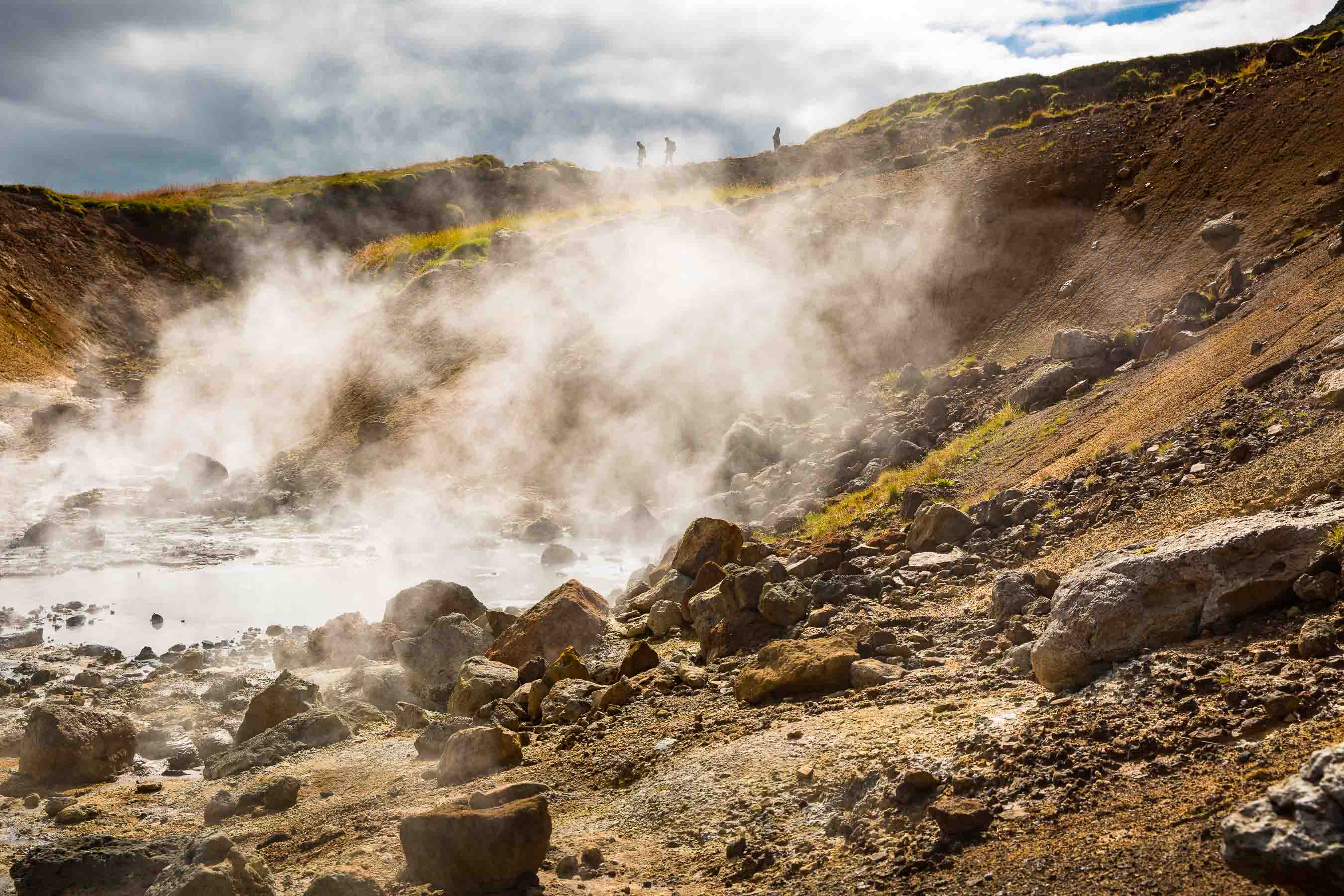 Hiking at Seltún, a geothermal area in Iceland