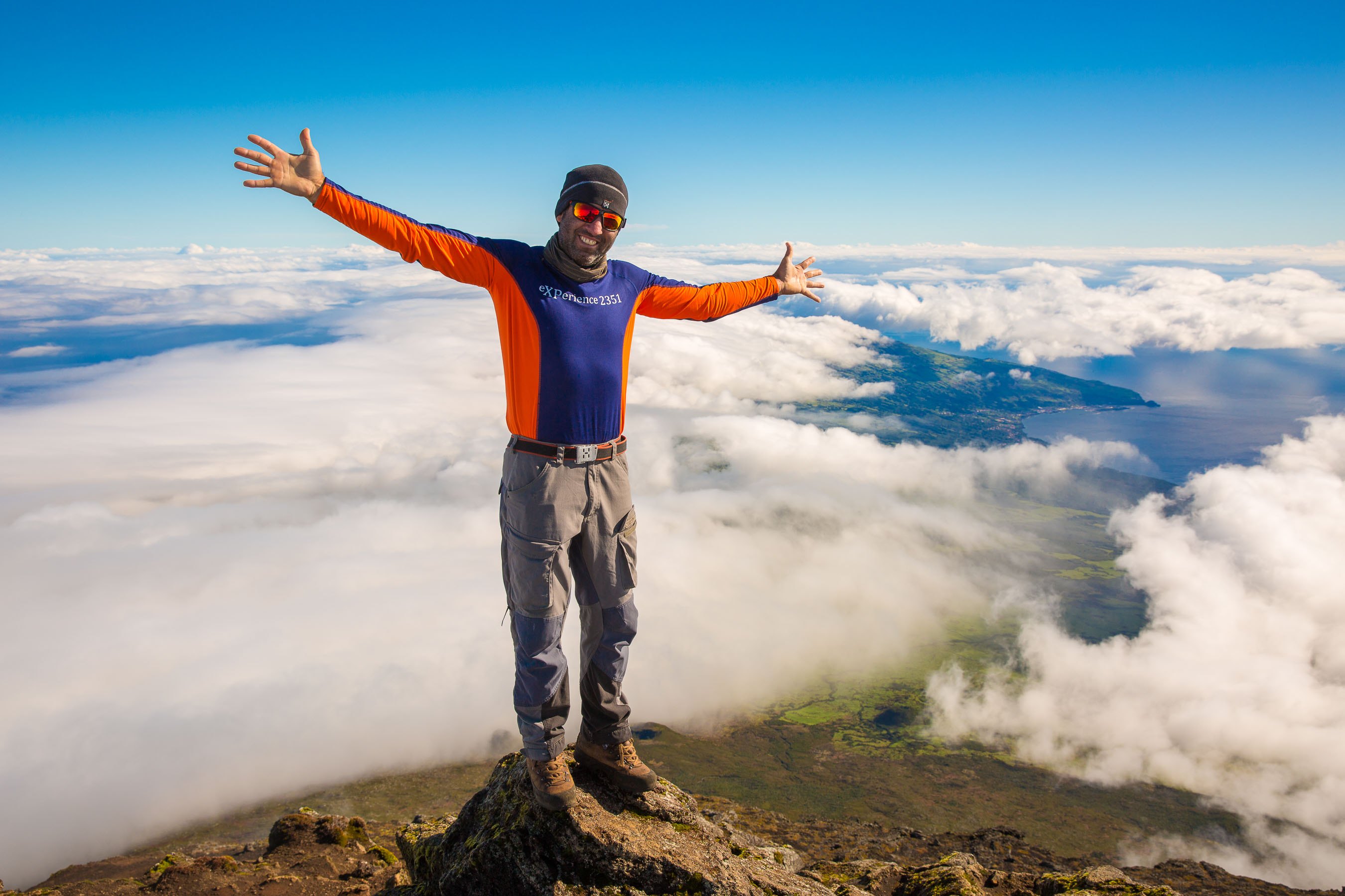 Portrait of guide on Mount Pico summit, Azores
