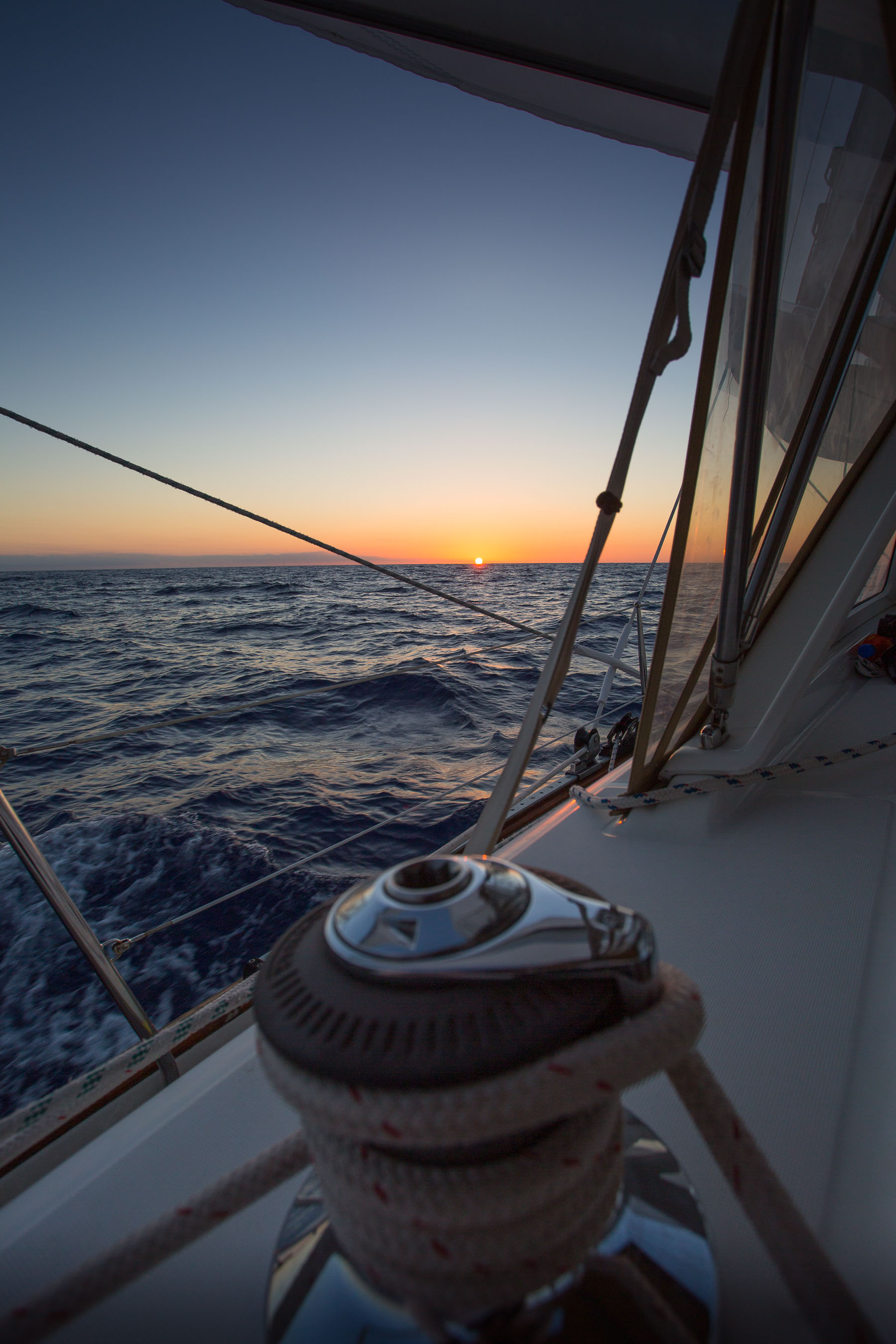 Sunset sailing from Bermuda to Massachusetts