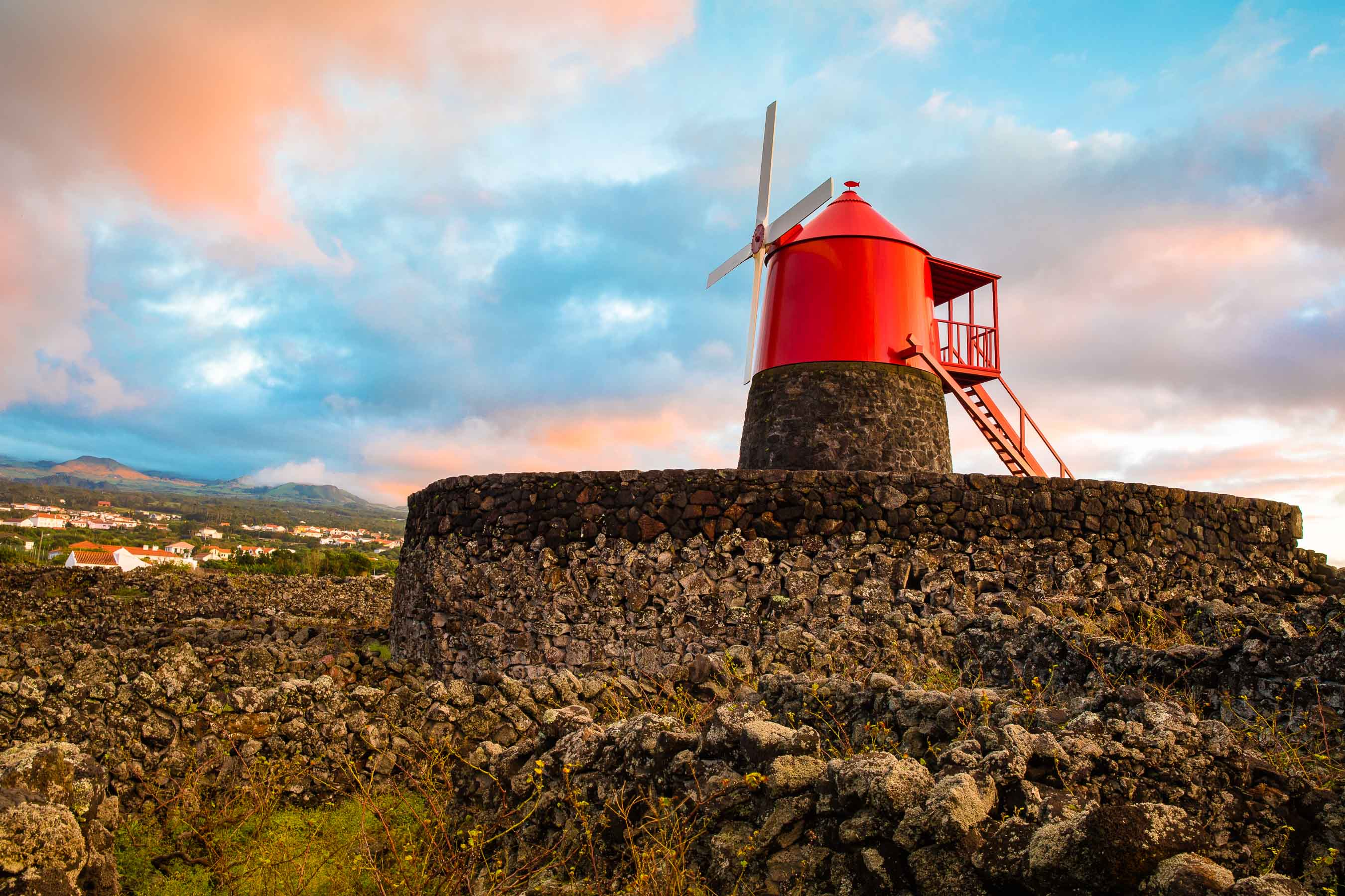 Traditional windmill in a vineyard on Pico, Azores
